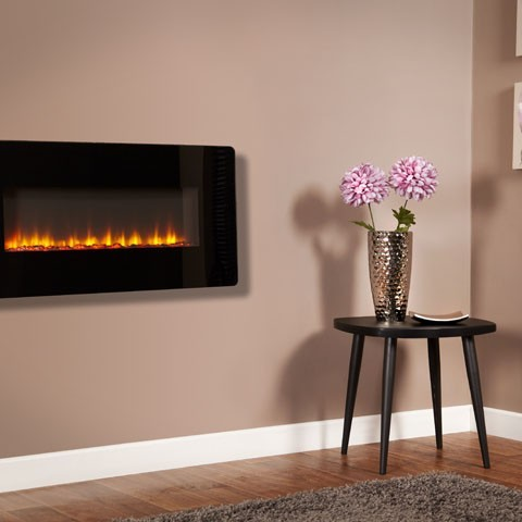 """PHANTOM 36 CURVED BLACK GLASS WALL MOUNTED ELECTRIC FIRE"