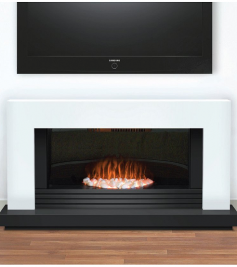 DAYTONA CONTEMPORARY WHITE AND GRAPHITE ELECTRIC FIRE SUITE