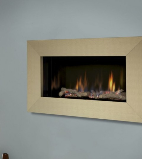 ATINA HE GLASS FRONTED HOLE IN THE WALL GAS FIRE BRASS FASCIA