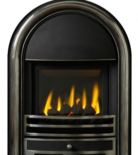 APPOLO GLASS FRONTED HE GAS FIRE INSET H/L CAST FRONT