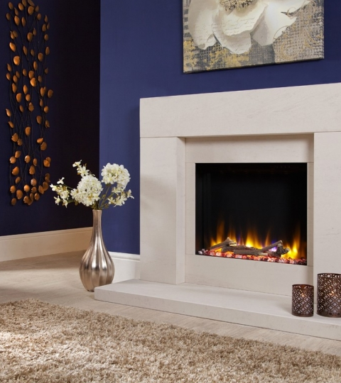 LIMESTONE ELECTRIC INSET FIRE SUITE