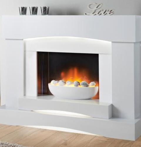 EXCELSIOR ELECTRIC FIRE SUITE MARFIL FINISH