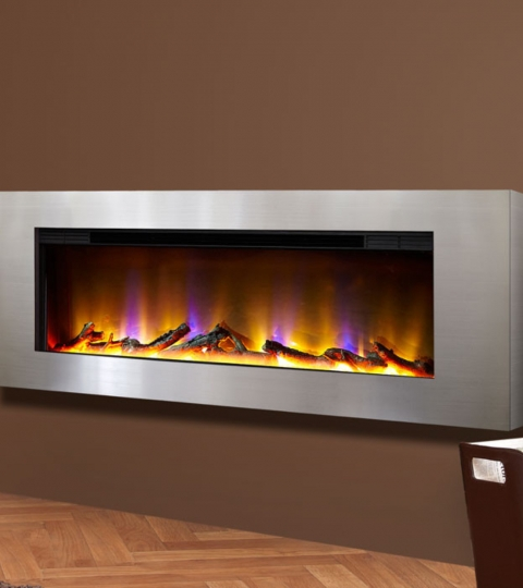 CELSI ELECTRIFLAME VR BASILICA SILVER WALL MOUNTED ELECTRIC FIRE