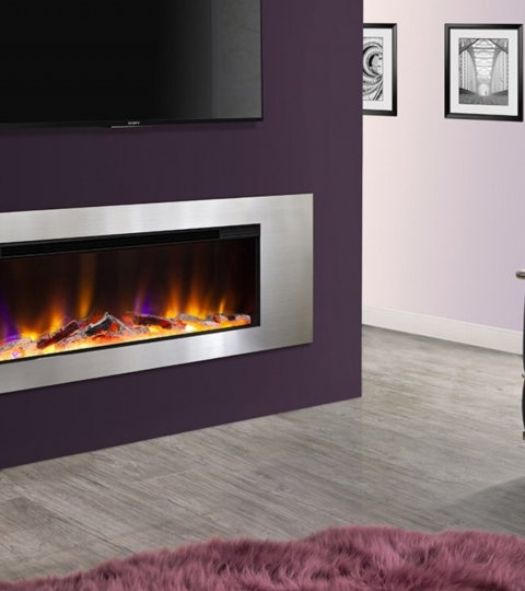 CELSI ELECTRIFLAME VR METZ SILVER WALL MOUNTED ELECTRIC FIRE