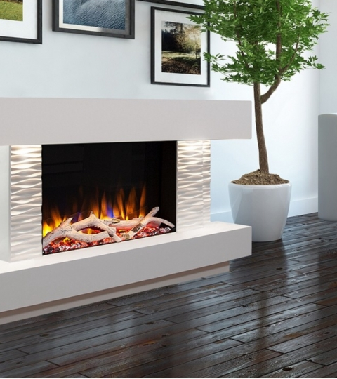 CELSI ULTIFLAME VR GEMMA 600 TEXTURED WHITE  ILLUMINA 47″ ELECTRIC SUITE.