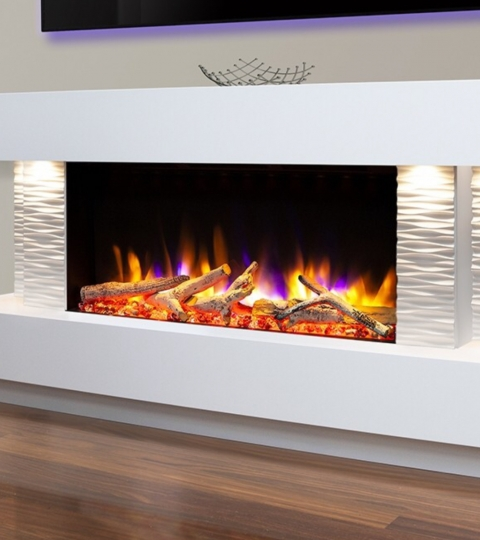 CELSI ULTIFLAME VR GEMMA 800 TEXTURED WHITE  ILLUMINA 58″ ELECTRIC SUITE.