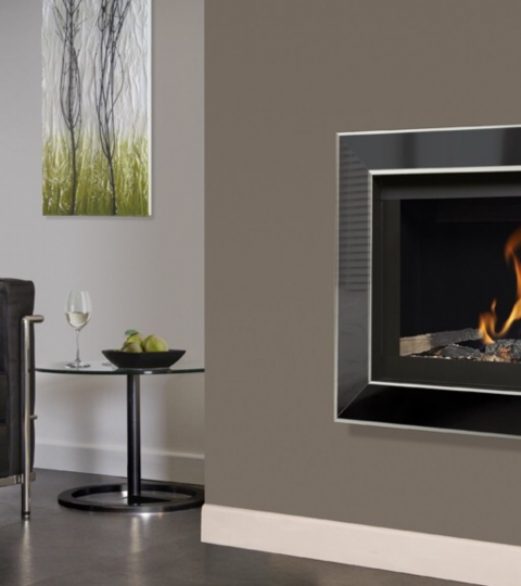 COLLECTION BY MICHAEL MILLER CELENA BALANCED FLUE GLASS FRONTED HOLE IN THE WALL GAS FIRE