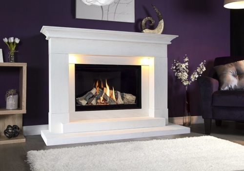 COLLECTION BY MICHAEL MILLER ALEESIA ILLUMINA 54″ LIMESTONE GAS FIRE SUITE.