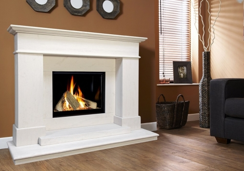 COLLECTION BY MICHAEL MILLER BOTICELLI CELENA LIMESTONE GAS FIRE SUITE.